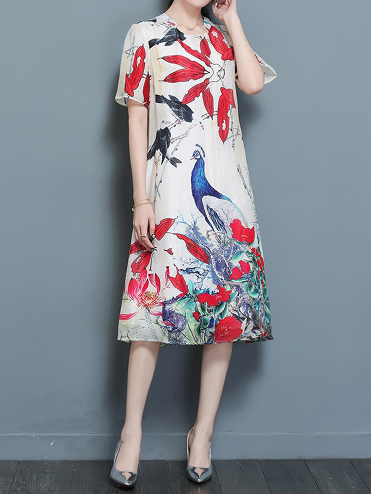 Women Print Short Sleeve Dresses Loose Hem Midi Dress