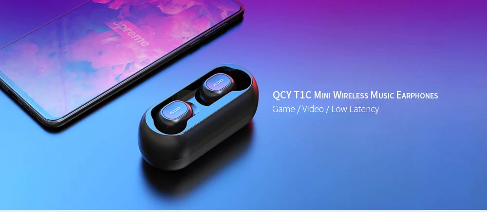 [bluetooth 5.0] Xiaomi QCY T1C TWS True Wireless Earphone HiFi Stereo Dual Mic Headphone with Charging Box