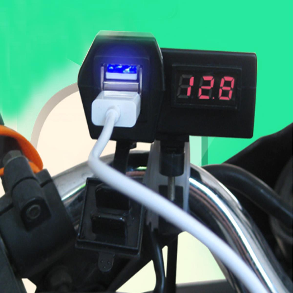 Bakeey 12-24V Motorcycle Motorbike 2 Dual USB Ports Charger Phone Power Socket Adapter GPS Sat