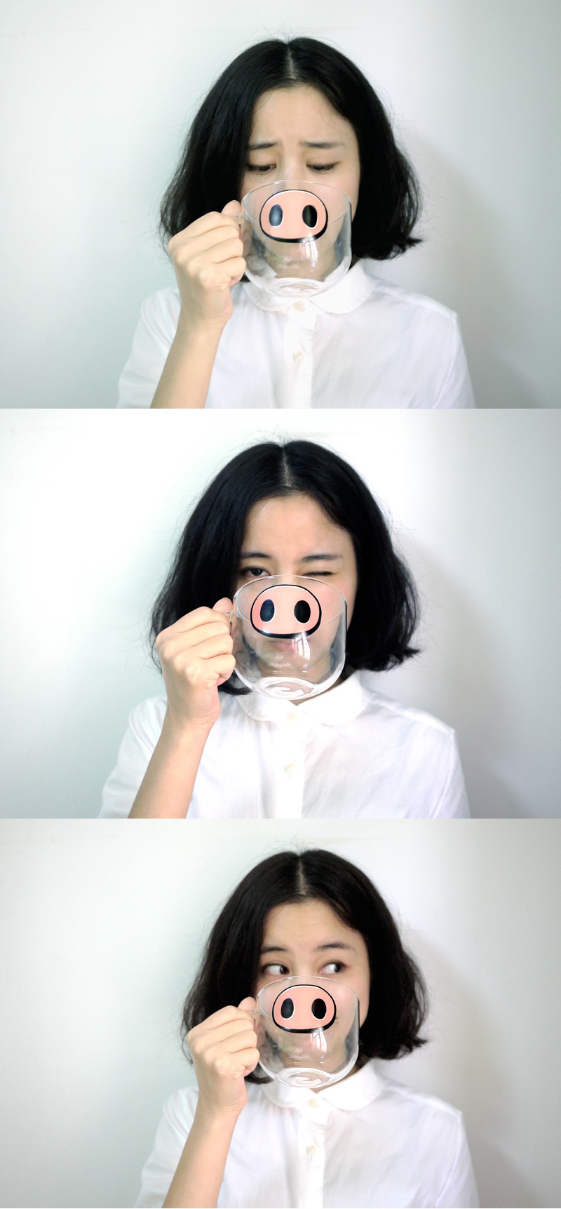 Handmade Cartoon Glass Cup High Temperature Resistant Transparent Water Mug Cat Pig Nose Pattern Glass Mug