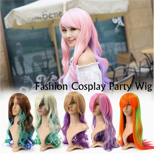 75cm Women Cosplay Wigs Gradient Wavy Long Hair Full Wigs Party Wig 5 Colors