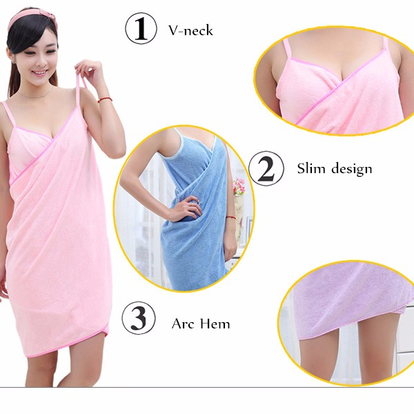 Honana BX-910 Soft Shoulder Straps Lady Wearable Bath Towel Beach Cloth Magic Dress Spa Bathrobe Bath Wrap Skirt