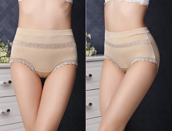 Modal Soft Comfort Lace High Waist Free Size Seamless Solid Color Elastic Women Brief Panties