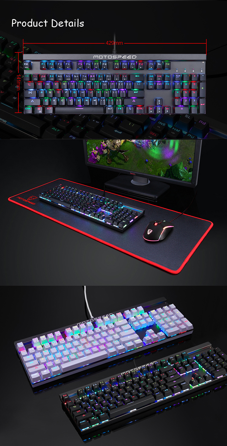 Motospeed CK103 104 Key NKRO USB Wired RGB Backlit Mechanical Gaming Keyboard Outemu Blue Red Switch