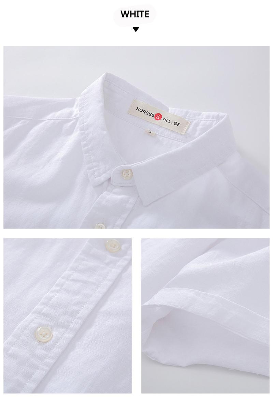 Linen Cotton Simple Minimalist Plain Color Summer Thin Shirt