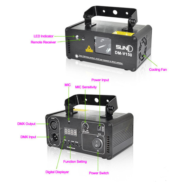 18W DMX Mini UV Laser Beam Projector Remote&Voice Control LED Stage Light for DJ Bar KTV Party