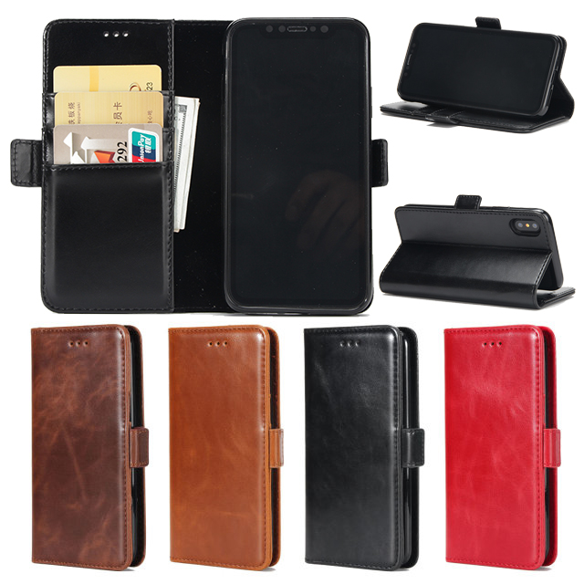 Card Slot Flip Bracket Magnetic PU Leather Wallet Case for iPhone X