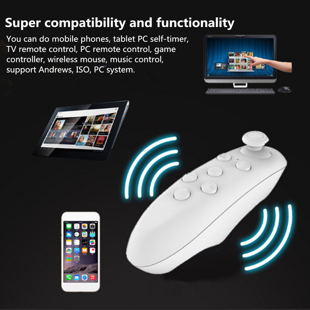 Wireless bluetooth Virtual Reality BOX Remote Control Joystick Gamepad Controller for iPhone 7 Android IOS