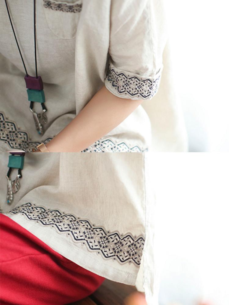 Vintage Embroidery O-neck Half Sleeve Blouse