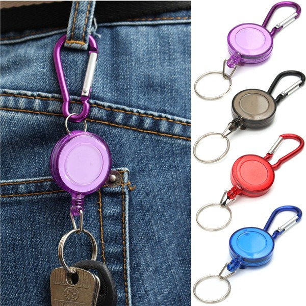 Retractable Office ID Card Badge Reel Holder Carabiner Clip Key Chain 4 Colors for Optional