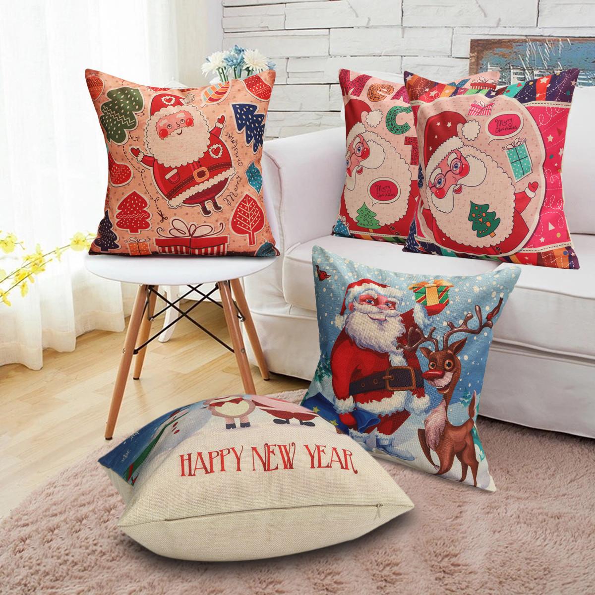 Christmas Santa Cotton Linen Pillow Case Cushion Cover Xmas Home Sofa Bed Decor