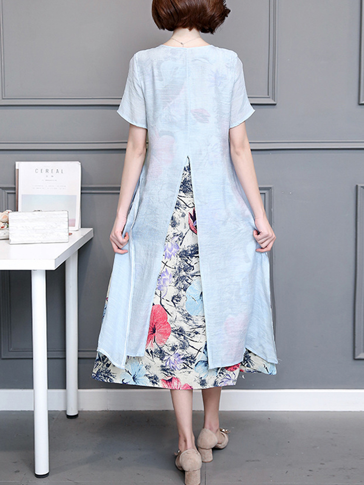 Women Vintage Printing Fake Two Pieces Dress