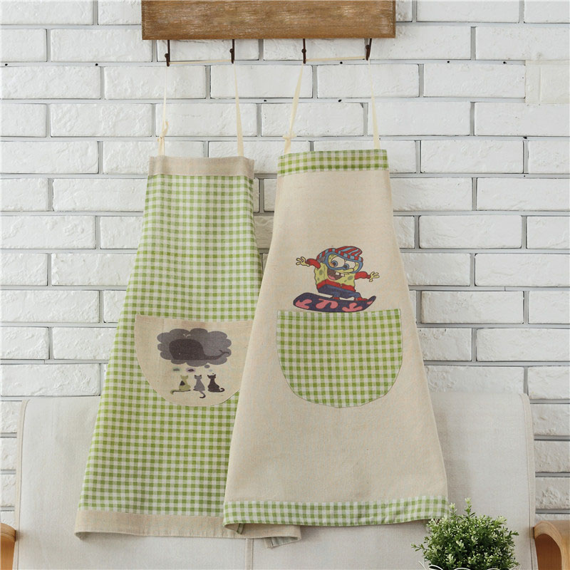 Cotton Linen Carton Pattern Apron Woman Adult Bibs Home Cooking Baking Coffee Shop Cleaning Apron Kitchen