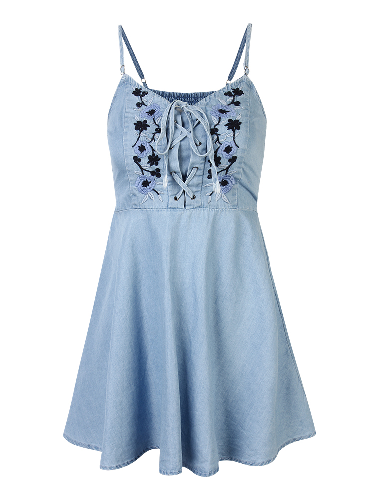 Women Vintage Embroidered Floral Denim Strap Mini Dress