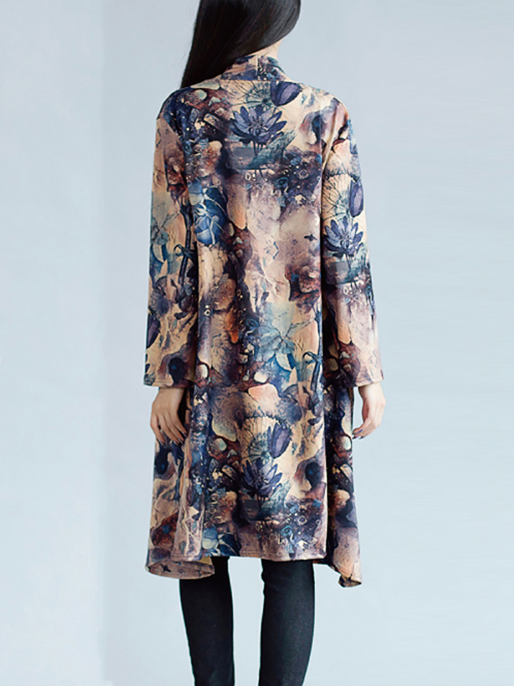 Vintage Women Floral Printing Long Sleeve Loose Long Coat