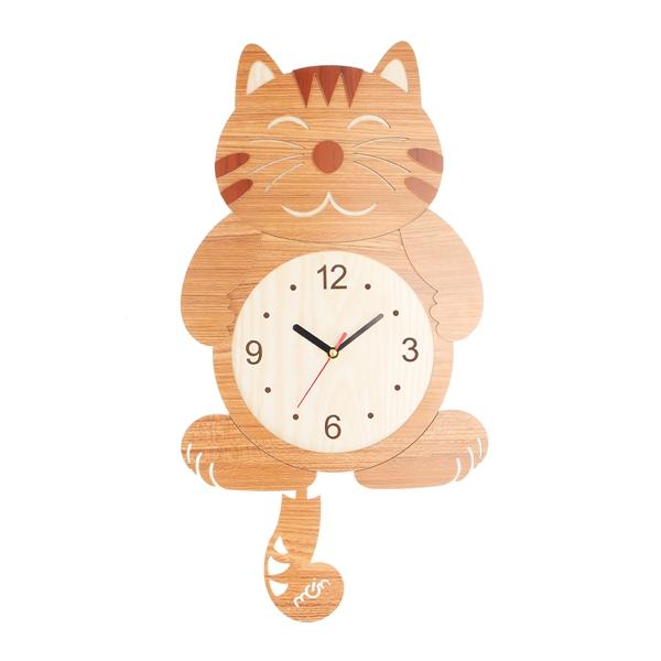 Wooden Wall Clock Cat Dog Swinging Tail Pendulum Battery Operated Room Creative Decor