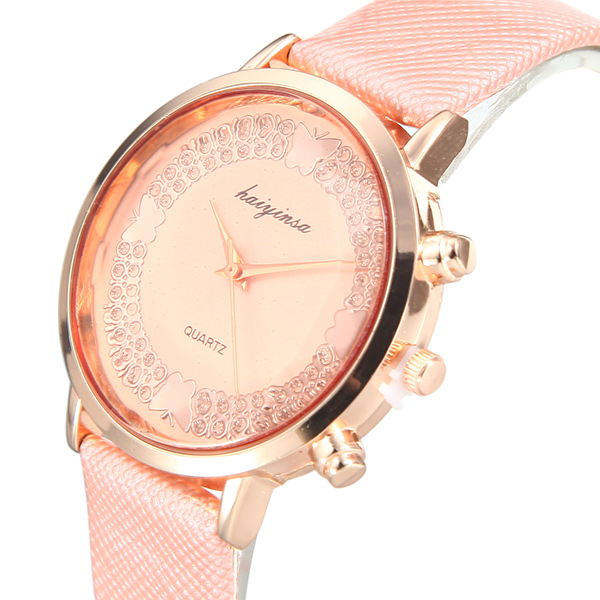 Lady Casual Fashion Butterfly Crystal PU Leather Band Women Analog Quartz Watch