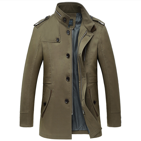 Mens Casual Stand Collar Single-breasted Trench Coat Slim Fit Dress Overcoat