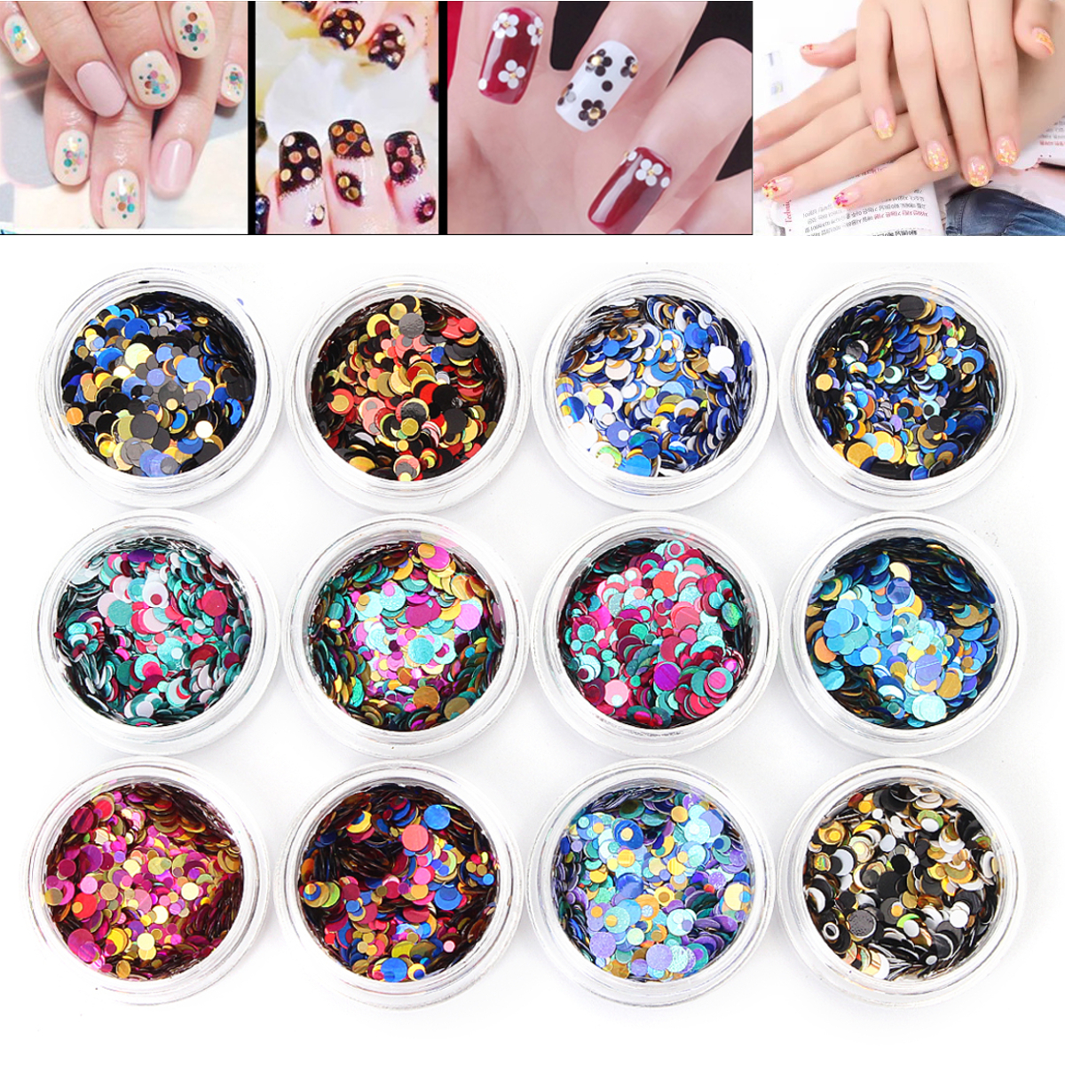 12pcs Multicolor Ultra Thin Glitter Sequins Nail Art Decoration Set DIY Manicure Decor