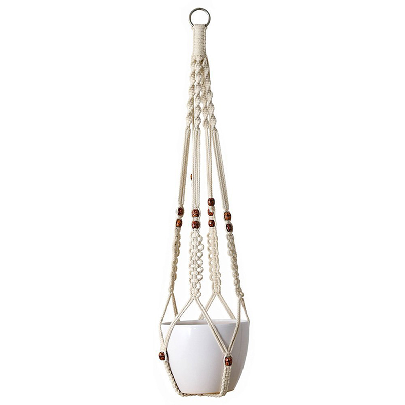 Macrame Flower Pot Planter Holder Basket Hanging Rope with Beads for Home Indoor Outdoor Decorations Cotton Rope Macrame Plant Hanger Indoor Outdoor Hanging Planter Basket Cotton Rope