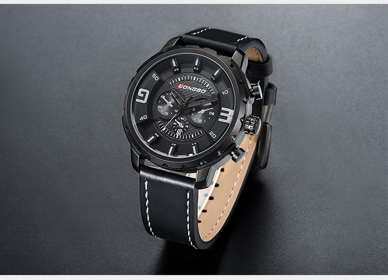 LONGBO 3011 Calendar Unique Design Leather Strap Men Watches