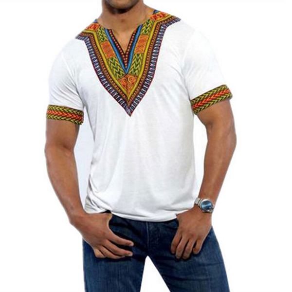Mens African Ethnic Loose V Neck Printed FashionT-shirts