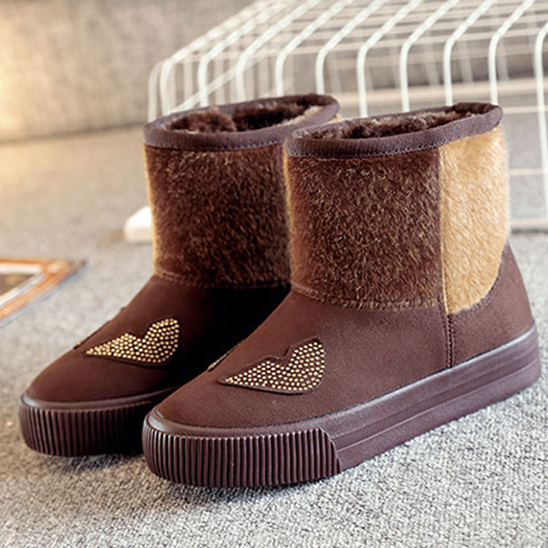 High Top Snow Boots Casual Fur Lining Cotton Keep Warm Casual Shoes