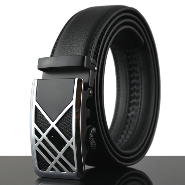 125-130CM Fashion Mens Business Genuine Leather Belt Casual Durable Automatic Buckle Belt