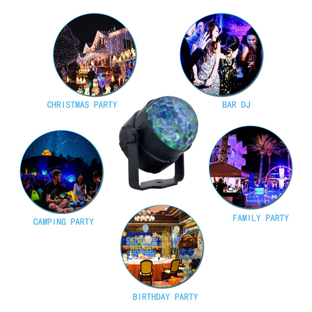 RGB Self-propelled Flash Mode Remote/ Voice Control LED Stage Light Crystal Ball DJ Part Disco Club