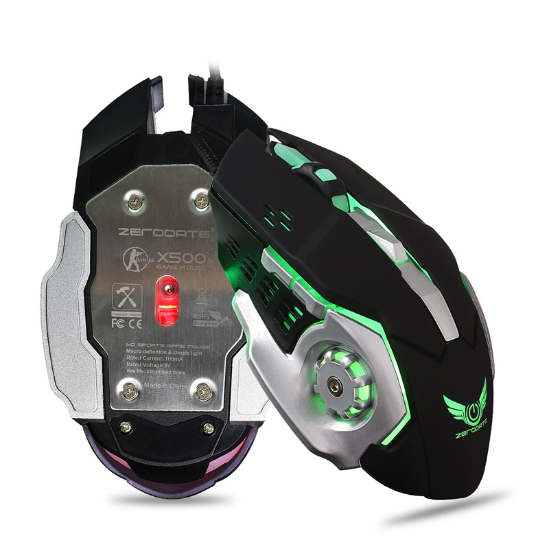 X500 3200DPI Adjustable 6 Button USB Wired LED Backlight Gaming Mouse for PC Computer Laptops