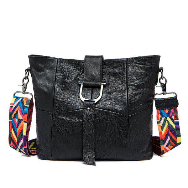 Women Genuine Leather Patchwork Casual Colorful Strap Crossbody Bag Shoulder Bag