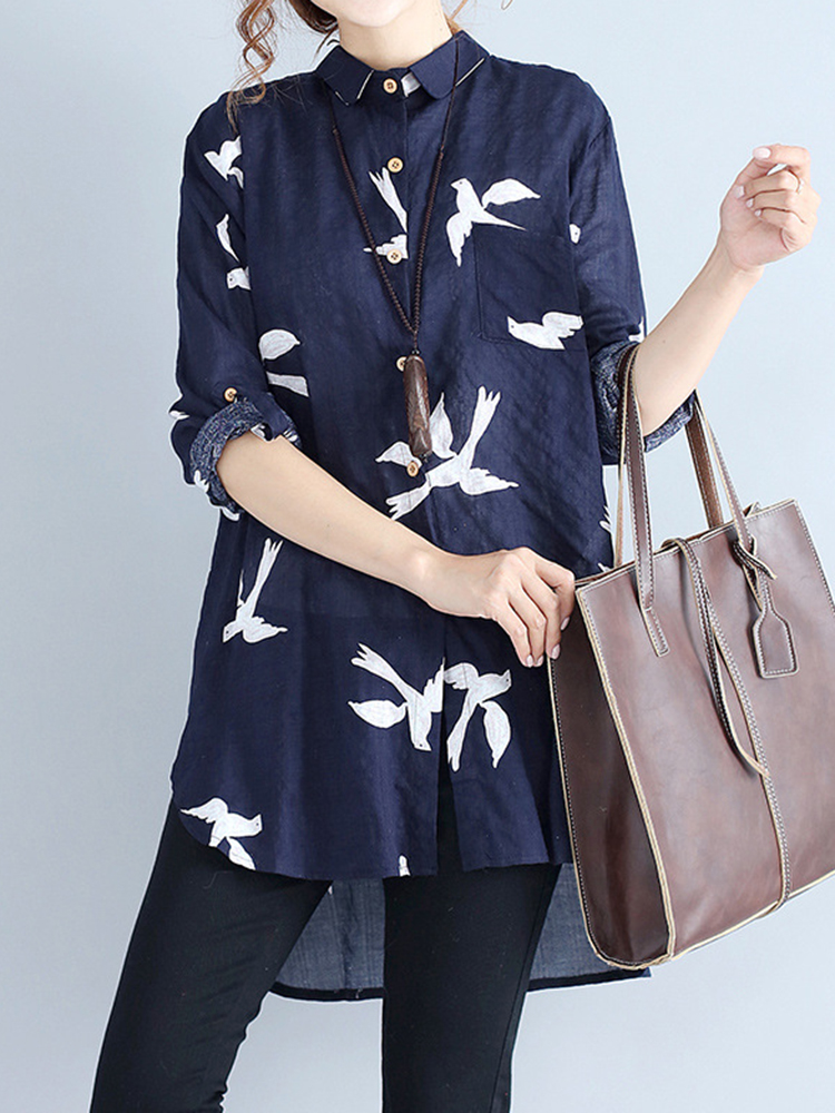 Casual Women Lapel Print Button High Low Hem Shirts
