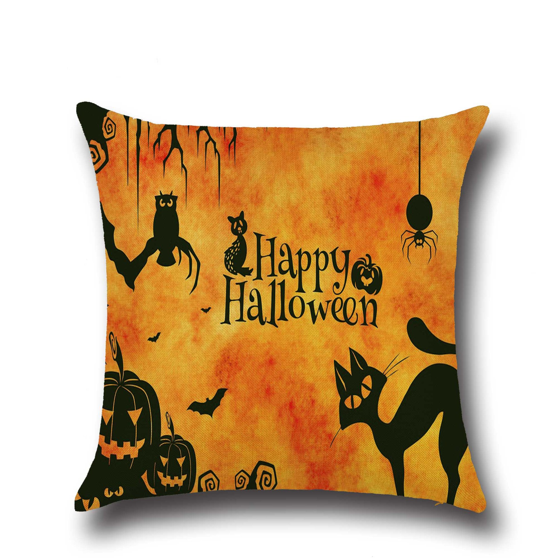 Halloween Thriller Cats Pattern Pillowcase Cotton Linen Throw Pillow Cushion Cover Seat Home Decoration Sofa Decor