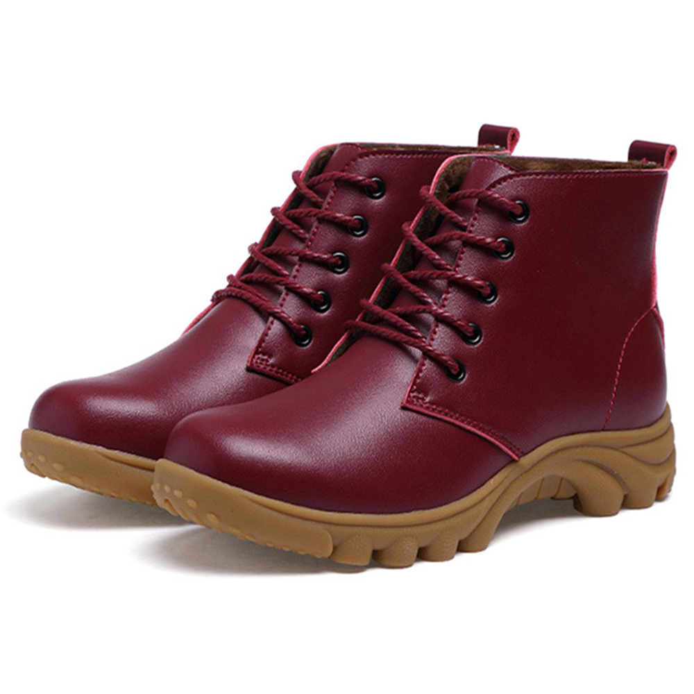 Women Warm Winter Leather  Ankle Boots