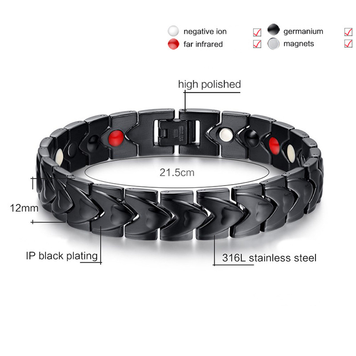 Men Punk Magnetic 316L Stainless Steel Black Bracelet