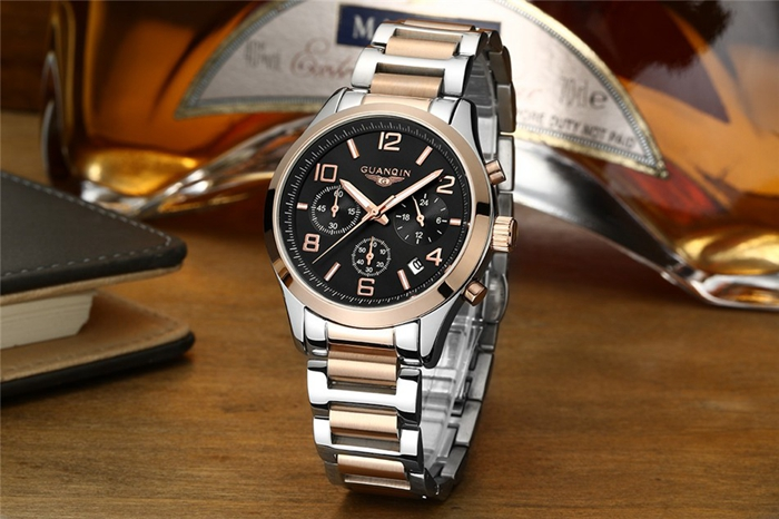 Luxury GUANQIN Brand Men Wrist Watch Fashion Business Style 3ATM Waterproof Quartz Watch GS18001