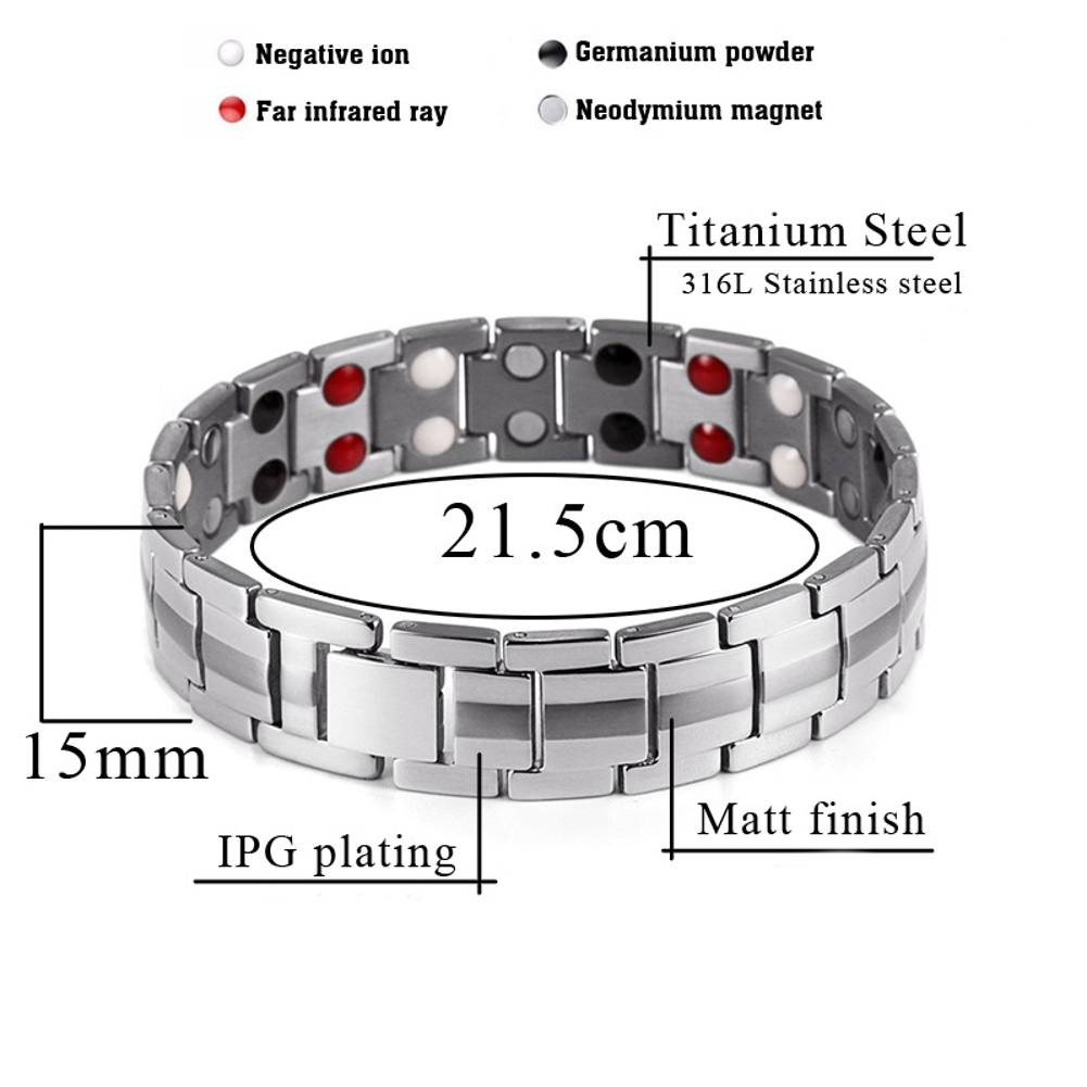 Punk Men Stainless Steel 4 in 1 Strong Magnetic Bracelet