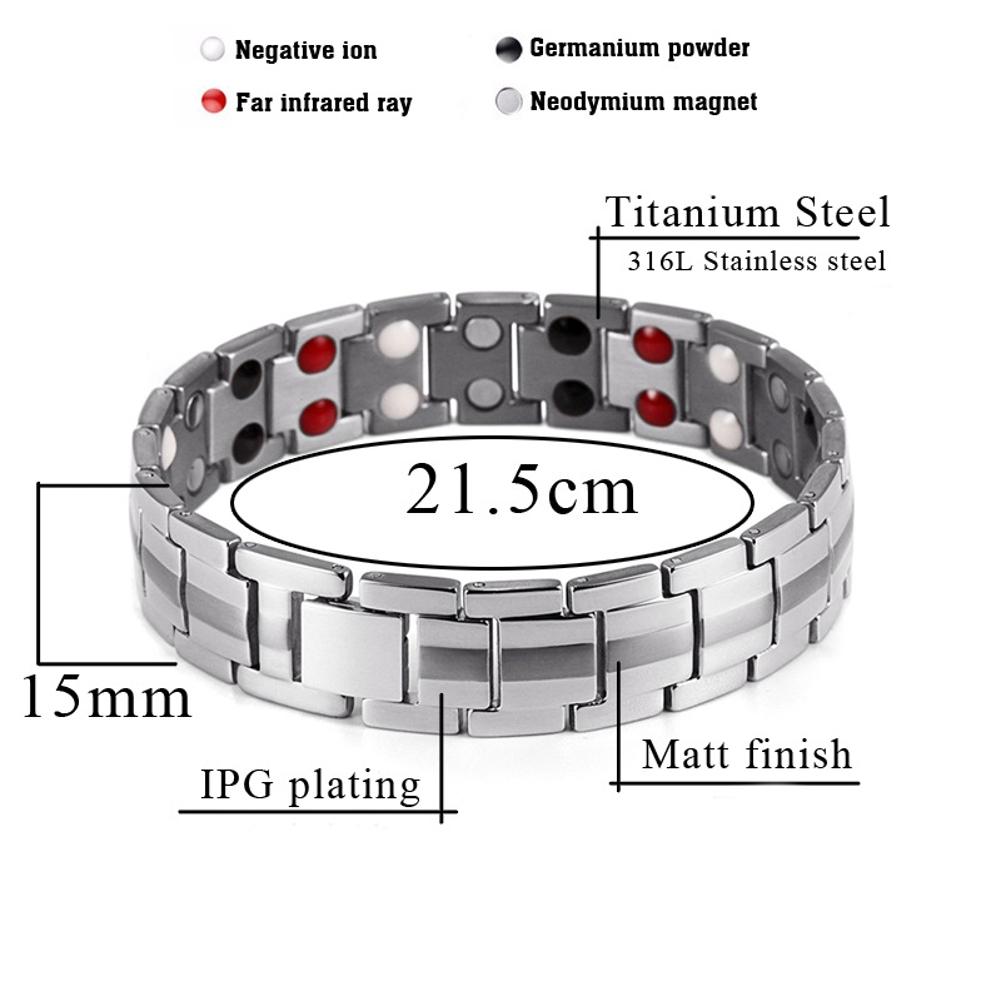 Punk Men Stainless Steel 4 in 1 Strong Magnetic Bracelet