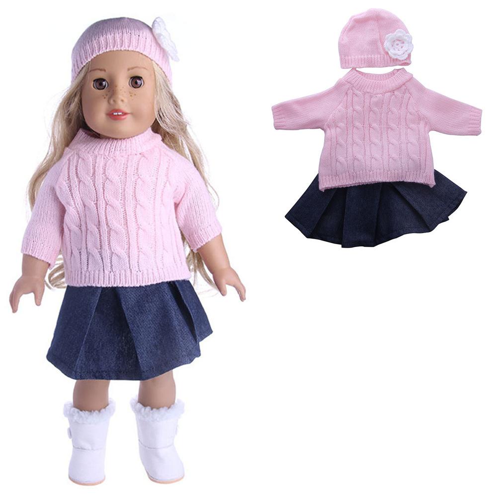 Sweater Cap Jeans Dress Coat Doll Set For 18