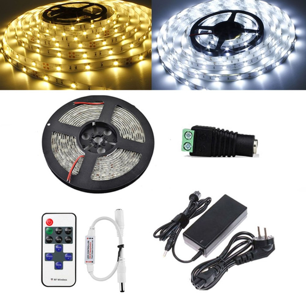 5M SMD5050 Non-waterproof LED Strip Light+11 Keys Remote Control+DC Female Connector+5A Adapter