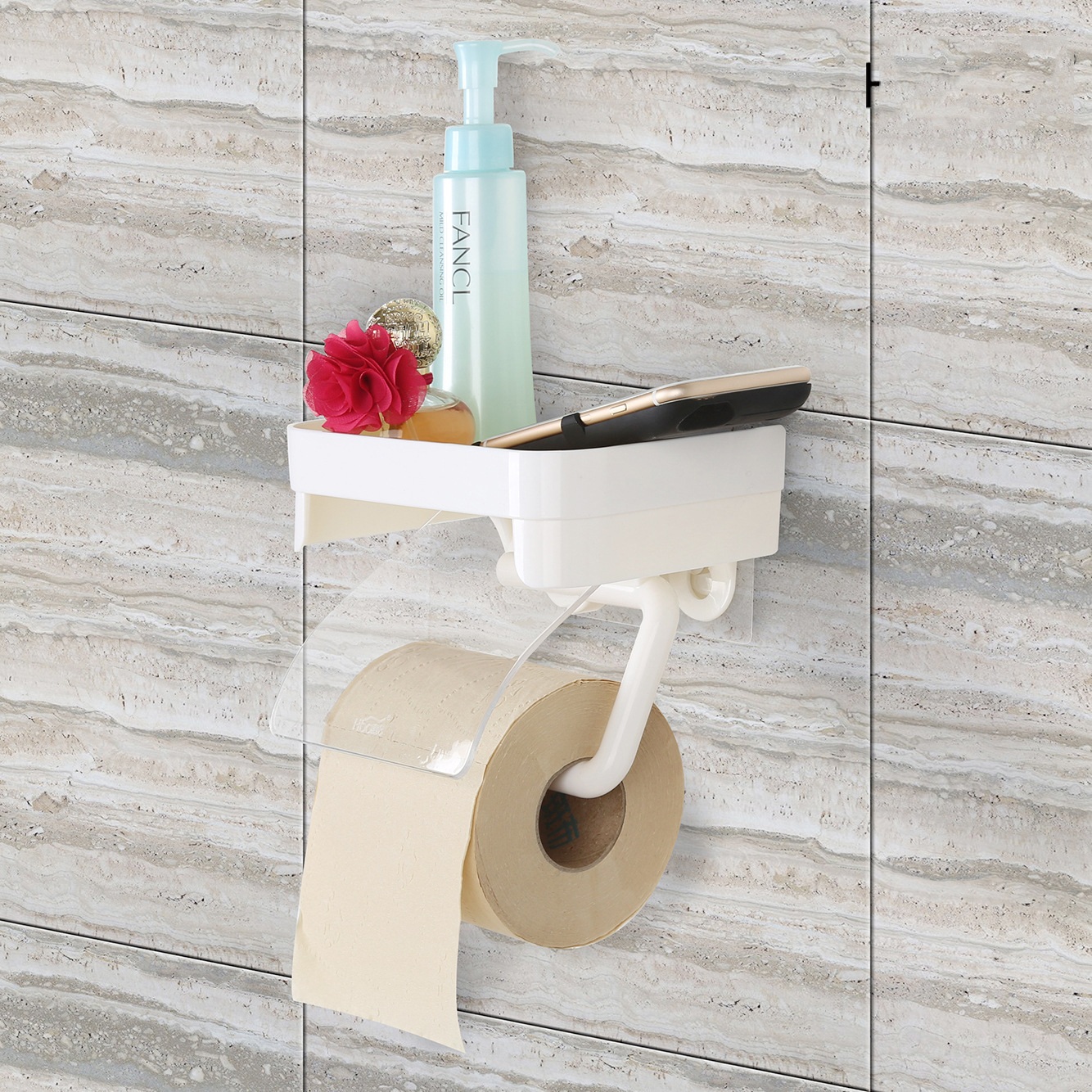 Honana Sucker Wall Mounted Toilet Paper Holder Bathroom Fixture Plastic Roll Paper Holders With Mobile Phone Storage Rack