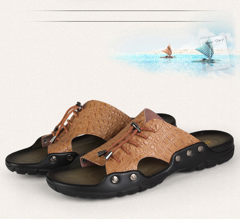 P392 Outdoor Summer Men Lace Beach Breathable Crocodile Texture Leather Shoes Sandals Slippers