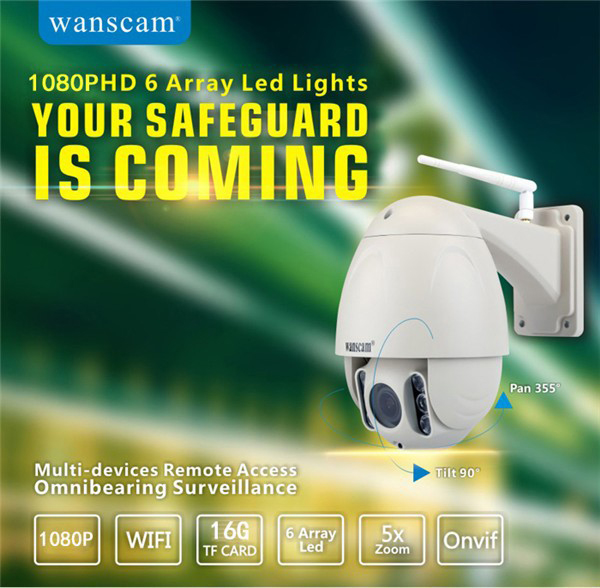 Wanscam HW0045 ONVIF 1080P Zoom Focus 2.8-12mm PTZ Wireless IR 80M Waterproof IP Security Camera