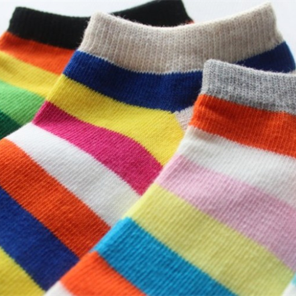 Women Girls Cotton Rainbow Candy Color Socks Stripes Breathable Stretchy Ankle Boat Socks