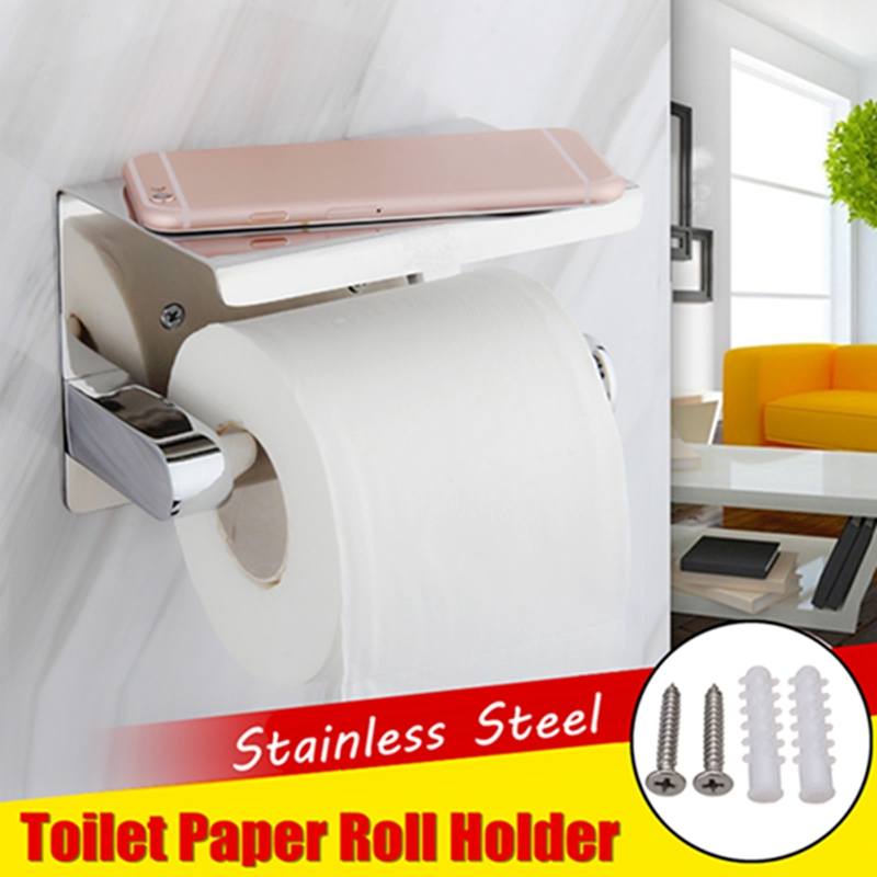 137x100x100mm 304 Stainless Steel Paper Holder Wall Mounted Toilet Paper Roll Shelf