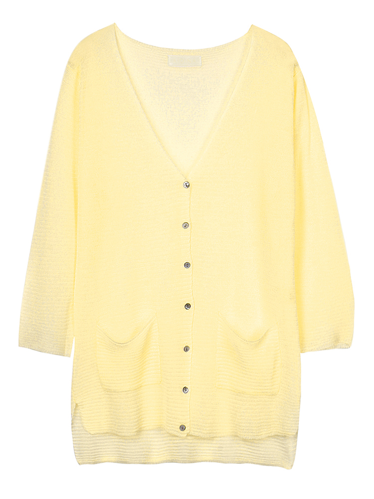 Casual Women Button High Low Thin Knitted Cardigan