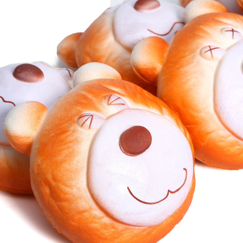 1PCS 10CM Simulate Cute Funny Brown Bear Face Squishy Toy Stress reliever Phone Chain