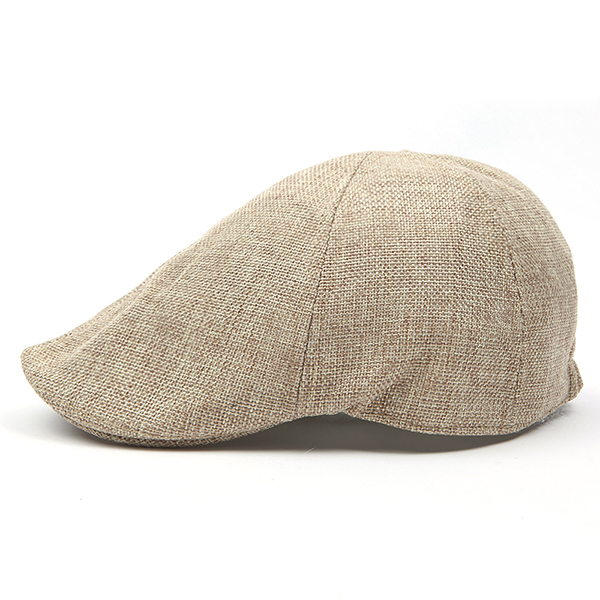 Mens Retro Cotton British Style Grid Beret Hat