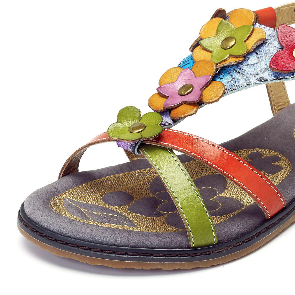 SOCOFY Genuine Leather Soft Flat Sandals