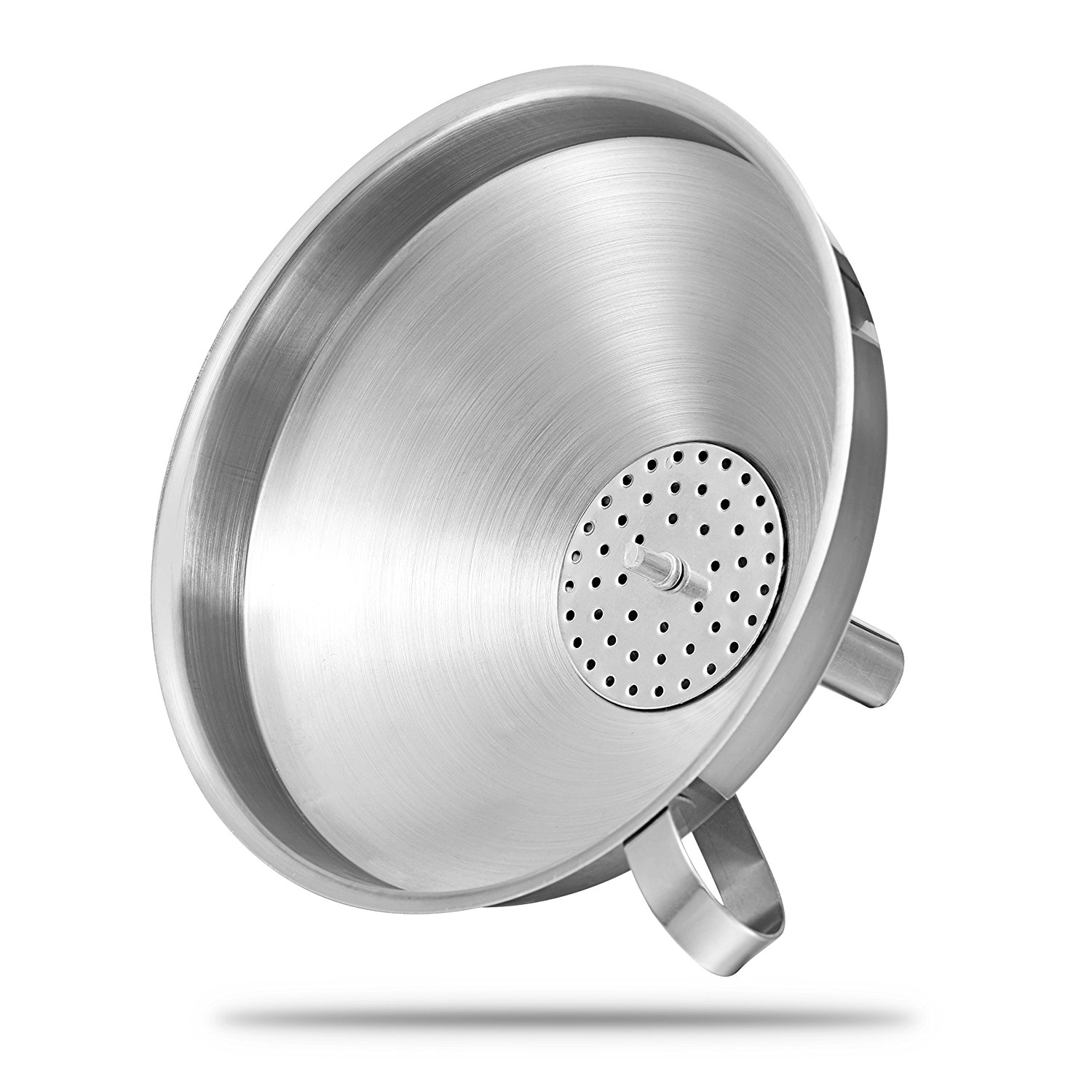 KCASA KC-FS022 5 Inches Stainless Steel Funnel Wide Mouth Liquid Oil Filling Funnel With Strainer